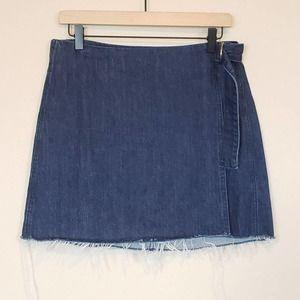 Madewell Denim Raw-Hem Mini Wrap Skirt